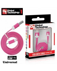 Global Technology Flat & Soft Universal Micro USB Cable 1m Pink