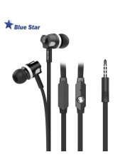Bluestar JM26 Comfort Super Bass Stereo 3.5mm In-Ear Flat Cable Headset with mic/remote Black