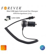 Forever 1A Car Charger Mini USB 5pin GPS Navigation HQ Analog with 2,5m Cable (EU Blister)