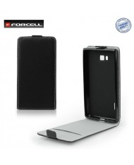 Forcell Flexi Slim Flip HTC One E8 Ace vertical case in silicone holder Black