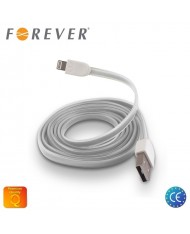 Forever Flat Silicone USB to Lightning Cable iPhone 5 5S 6 White (MD818 Analog)