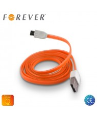 Forever Flat Silicone Micro USB Data & Charging Cable 1m Orange