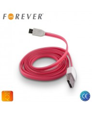 Forever Flat Silicone Micro USB Data & Charging Cable 1m Pink (EU Blister)