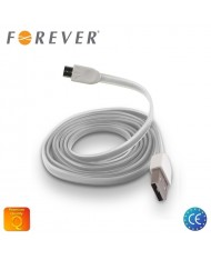 Forever Flat Silicone Micro USB Data & Charging Cable 1m White