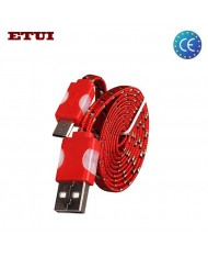 Etui Super Flat Wired 1m Led Flashing Light Universal Micro USB Cable Red