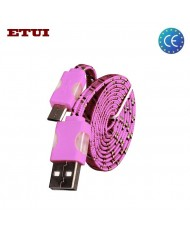 Etui Super Flat Wired 1m Led Flashing Light Universal Micro USB Cable Pink