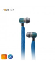 Forever Swing Sport & Fitness 3.5mm Flat Shoelace Cable In-Ear Earphones with Mic Blue