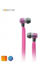 Forever Swing Sport & Fitness 3.5mm Flat Shoelace Cable In-Ear Earphones with Mic Pink