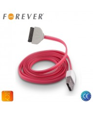 Forever Flat Silicone USB Data & Charging Cable iPhone 4 4S Pink (MA591 Analog)