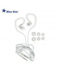 Blue Star SP80 Active Sport 3.5mm In Ear Earhook Stereo Earphones with Mic and remote White