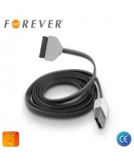 Forever Flat Silicone USB Data & Charging Cable iPhone 4 4S Black (MA591 Analog)