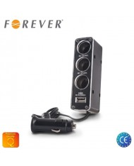 Forever Car 12/24V Socket splitter + USB 500mAh charger (12/24V power splitter to 3 sockets + cable)