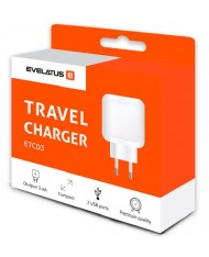 Evelatus Travel Charger Two USB 3.4A ETC03  White