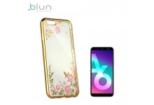 Blun DIAMOND ultra thin silicone back cover case for Samsung Galaxy A6 (2018) with Gold frame